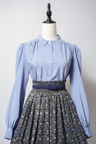 Lace Scallop Collar Blue Lavender Blouse