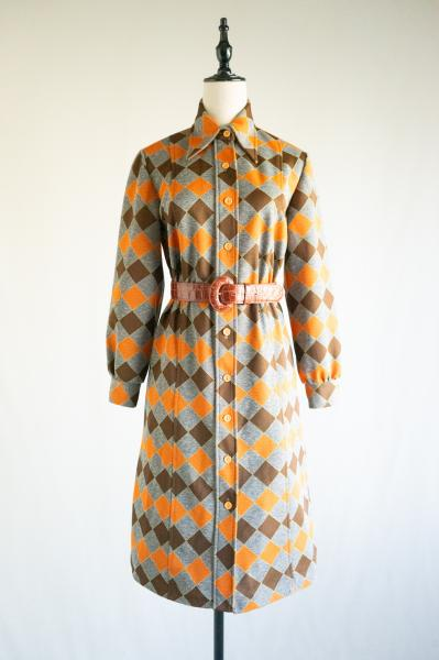 Brown×Orange Diamond Pattern Dress