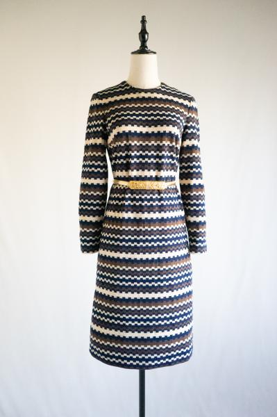 60~70's Design Border Dress
