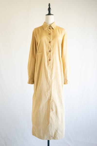Made In Euro Cream Beige Corduroy Dress