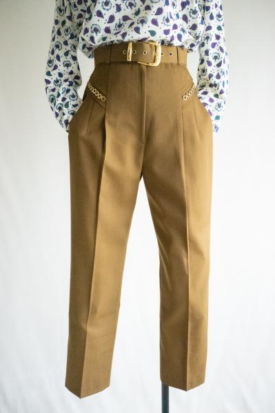 Mustard brown Chain With Belt Pants