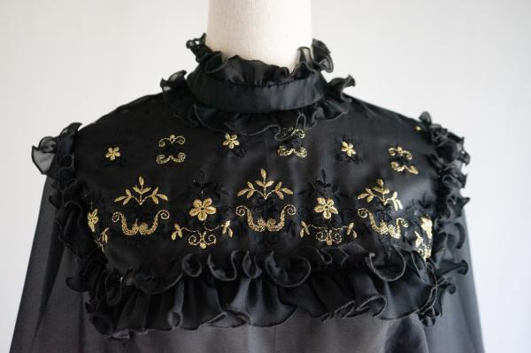 Made In Euro Flower embroidery Sheer Blouse