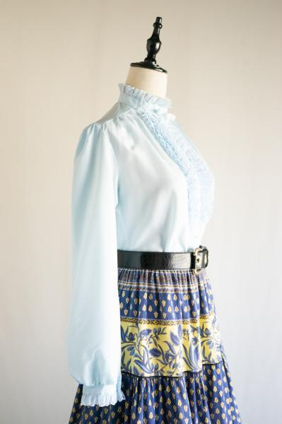 Light blue Lace design Stand Blouse