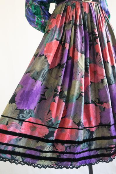 Made In Euro Watercolor Flower Skirt