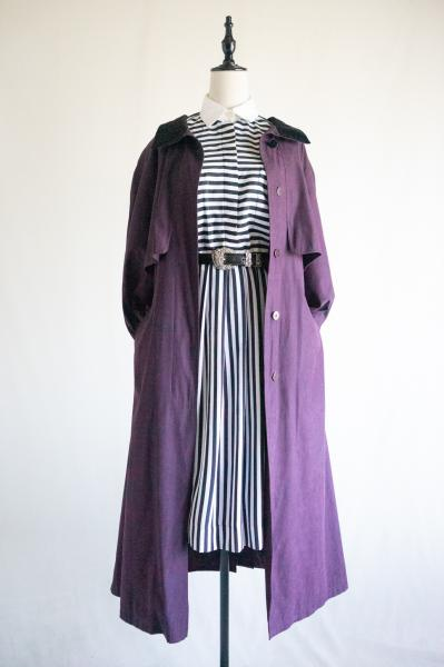 Deep Purple Velor collar Trench Coat