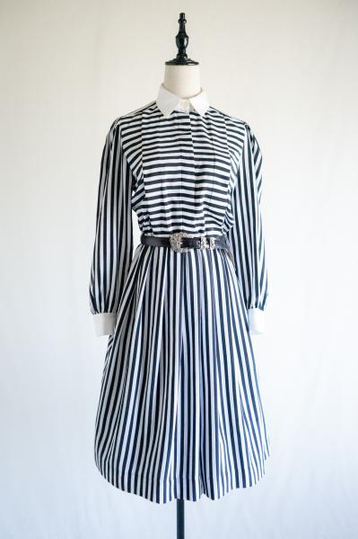 Monotone Stripe Shirt Dress