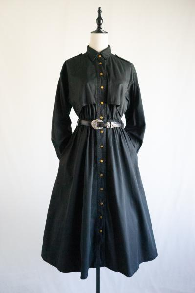 Trench design Black Shirt Dress