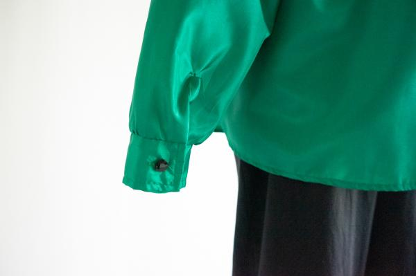 Botanical Lace switching Green Blouse