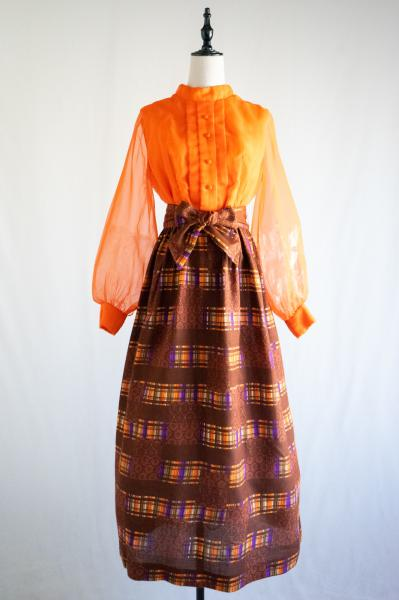 60's Orange Sheer×Check flower Maxi Dress