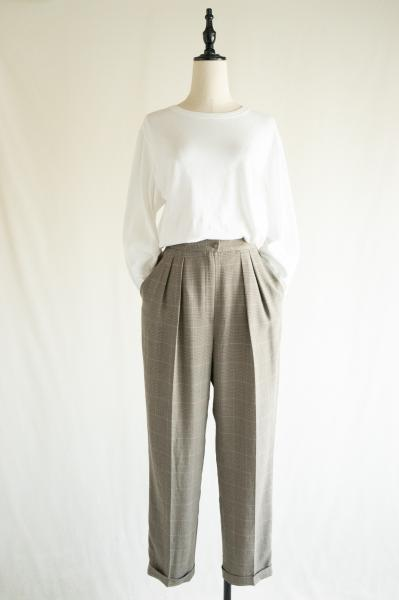 Dull gray Check Tuck Pants