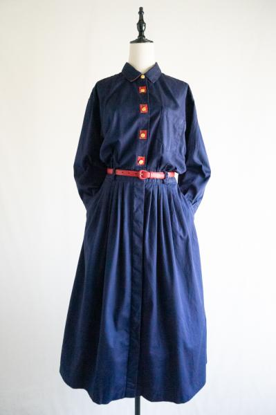 Point check Navy Pleats Shirt Dress