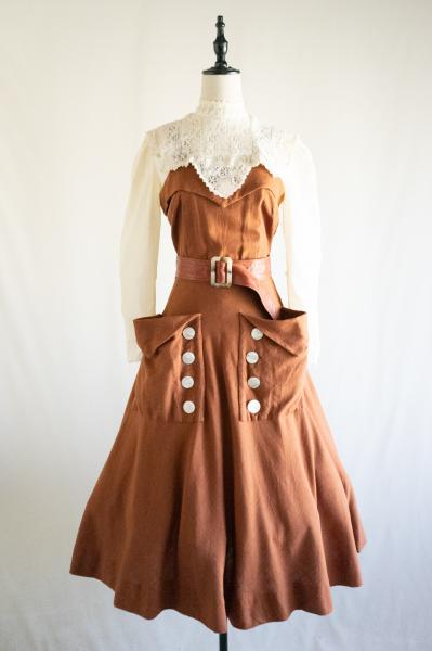 50's Big pocket Brown Cami Dress