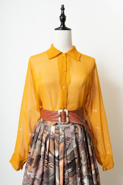Made In France Mustard Yellow Sheer Blouse