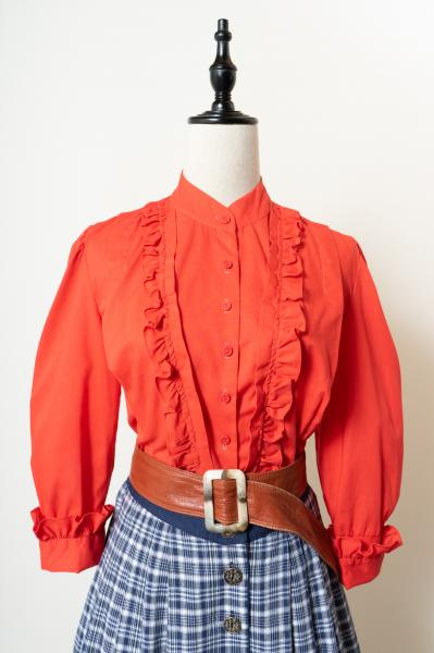 Frill Design Red Short Blouse