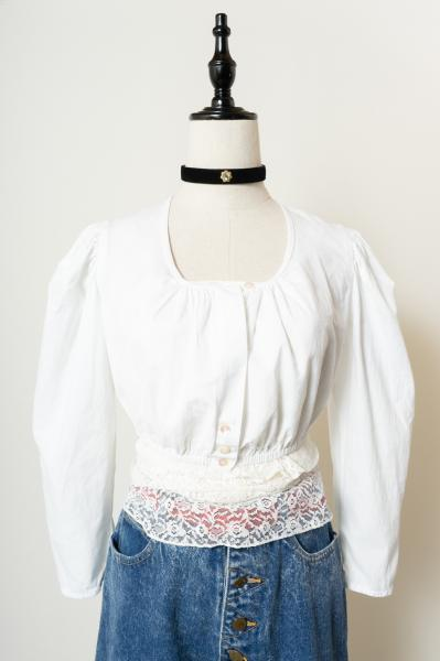 Made In Austria White Short Tyrol Blouse