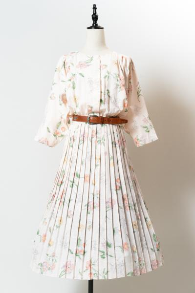 Fruit×Flower Pleat Dress