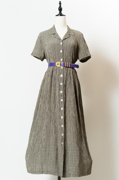 Crinkle check Over Dress