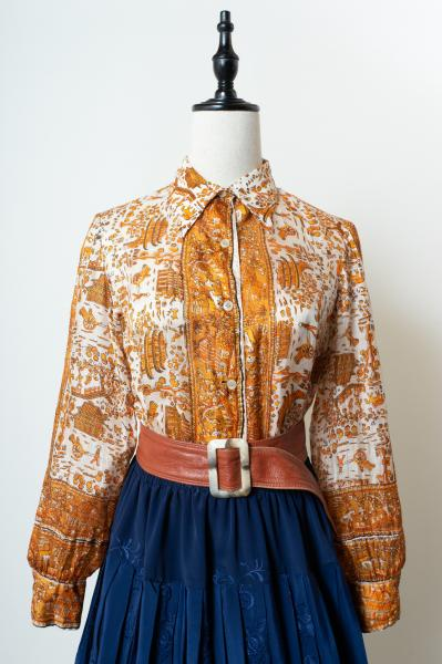 50~60's Scarf Textile Silk Blouse