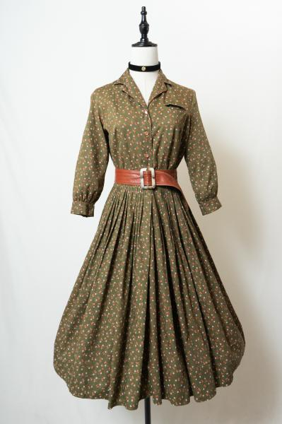 50's Small flower Olive Dress