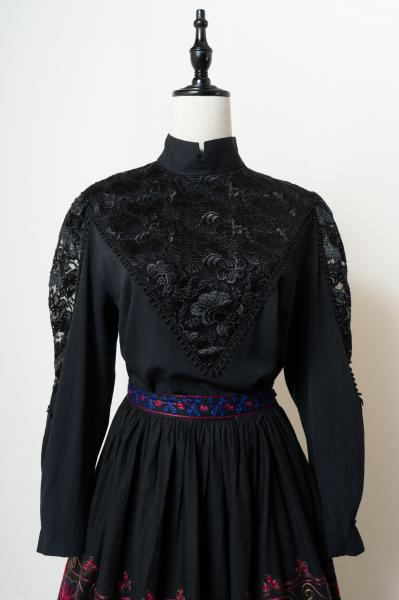Made In Germany Lace Design Black Blouse