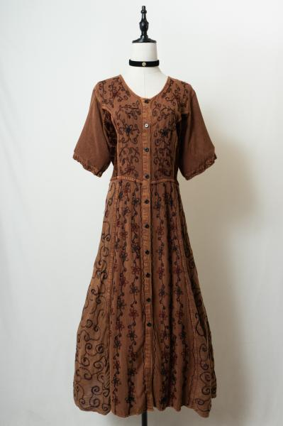 Flower Embroidery Brown Ethnic Dress