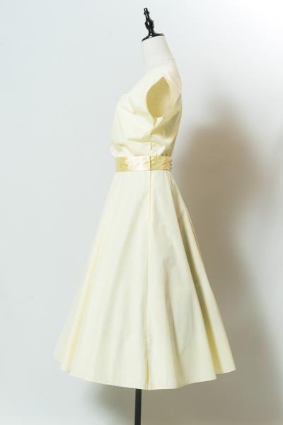 Made In Euro Shoulder mesh yellow Dress