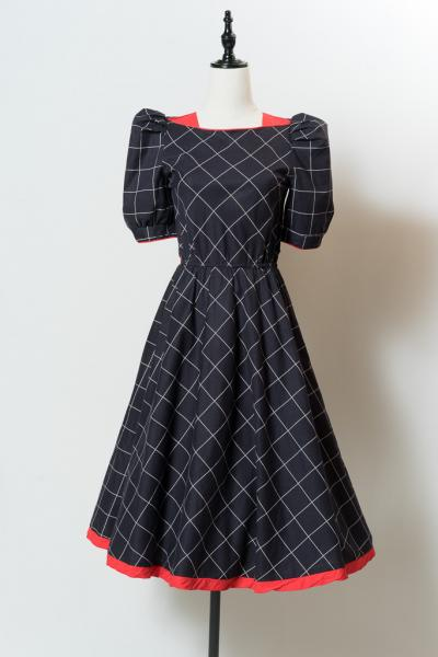 Graph check Flare Dress