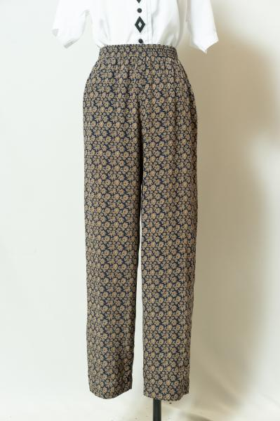 Retro Botanical Silk  Pants