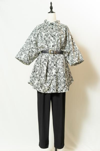 Oriental Pattern Over Blouse