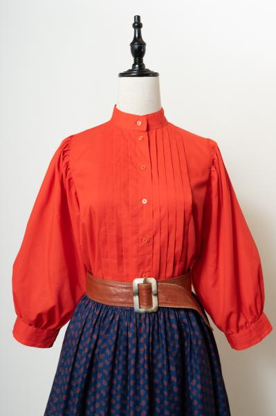 Made In Euro Pleats Design Ballon Red Blouse