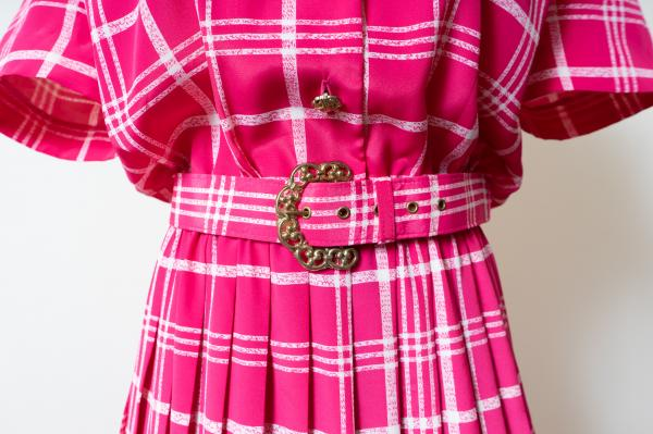 LESLIE FAY Pink×White Art check Dress