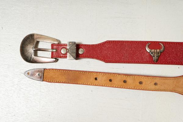 Animal Concho Red Leather Belt