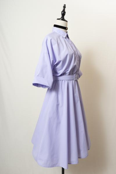 Lavender Shirt Flare Dress