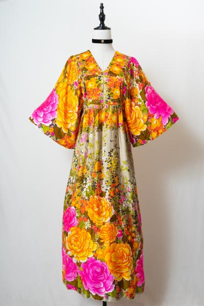 60's Made In Hawaii Flower Maxi Dress