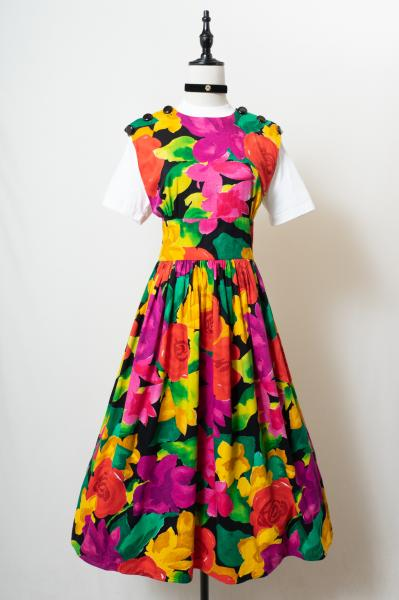 Back Cross Style Art Flower Dress