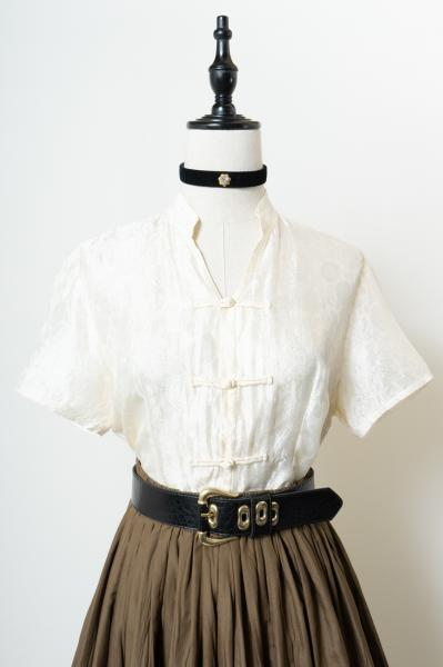 Off White Silk China Blouse