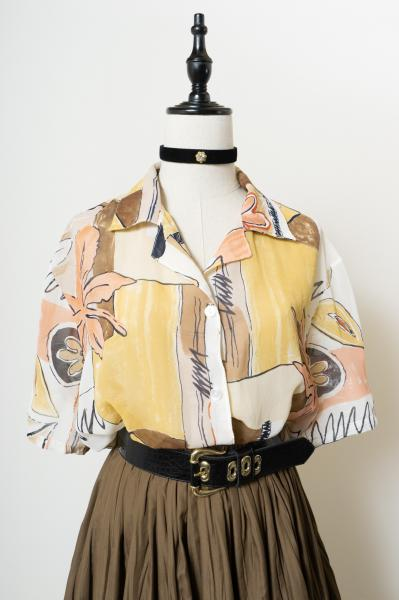 Made In France Art Pattern Sheer Blouse