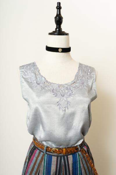 Embroidery Design Gray Silk Tops