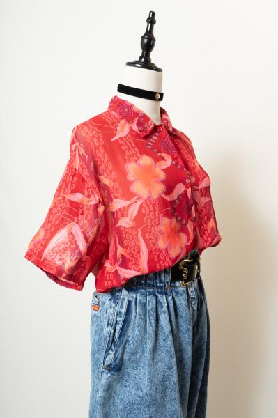Oriental Design Flower Sheer Blouse