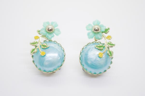 Pearl Blue Flower Earrings
