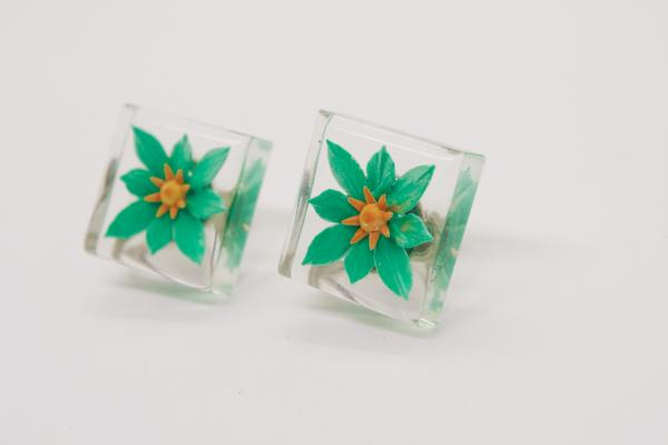 Green Flower Resin Earrings