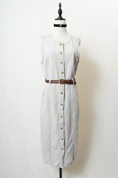 Opening Sleeveless Linen Dress