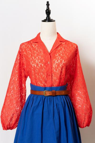 Made In Euro All Lace Red Blouse