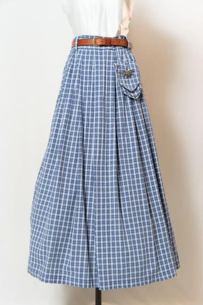 Made In Euro Blue×White Check Tyrol Skirt