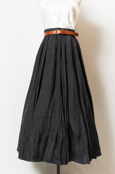 Made In Euro Black Silk Circular Skirt