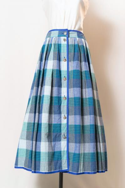 Made In Euro Blue Check Tyrol Skirt