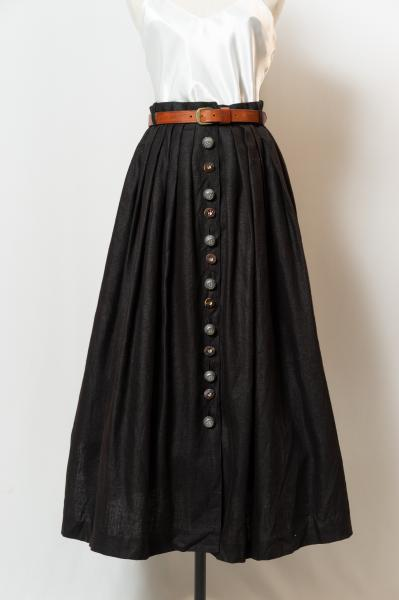 Made In Euro Black Leinen Tyrol Skirt