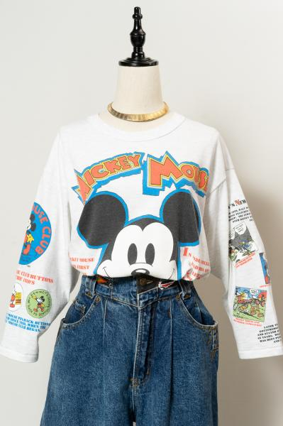 90's Mickey Mouse History Print Long T-shirt