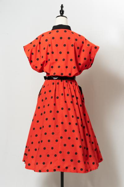 Made In France Black Dot Red Dress