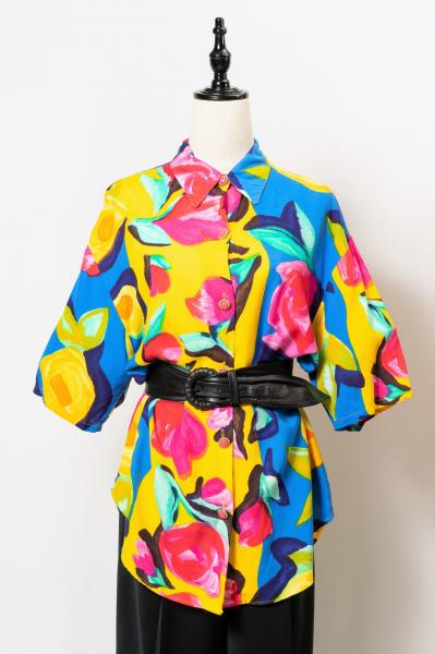 Art Rose Colorful Pattern Blouse